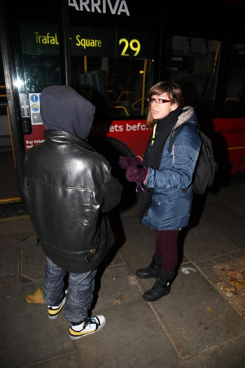 Kirsty Lowe talks to a homeless man